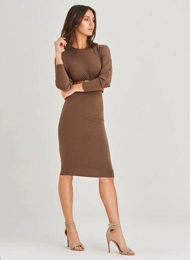 People By Fabrika Büzgü Detaylı Elbise Kahve